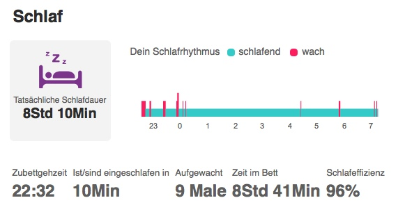 Fitbit Flex Schlafauswertung